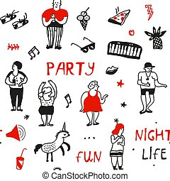 Party seamless pattern in doodle style illustration