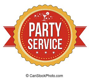 Party service modern sticker or label