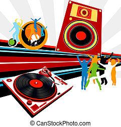 party - silhouettes dancing, turntable, loudspeaker and rays
