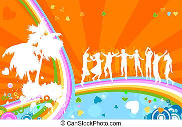 party;, silhouettes, jeunes adultes