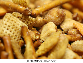 Macro of party snack mix