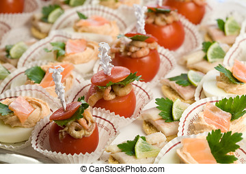 Party snacks - Delicious party snacks served on a platter