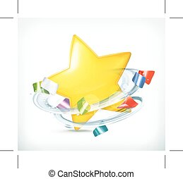 Party, star and confetti