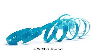 party streamer over a white background with blue color