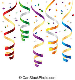 Party streamers - Vector illustration of curled party ...