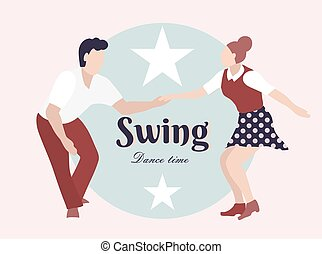 Party Swing Young couple dancing swing, rock or lindy hop. Retro in flat style hand drawn. Disc cover, social network, dance competition, illustration of dance courses. Time to dance.