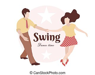 Party Swing Young couple dancing swing, rock or lindy hop. Retro in flat style hand drawn. Disc cover, social network, dance competition, illustration of dance. The guy and the girl are dancing swing.