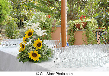Party Table - A table prepared for a wedding party. Glasses...