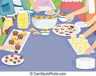 Party Table Family Outdoor Picnic Meal - Illustration of a...