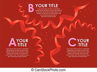 Party theme layout design with Red ribbon and confetti