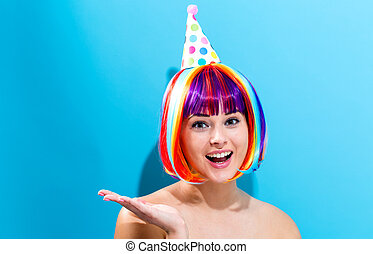 Party theme with woman in colorful wig