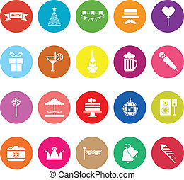 Party time flat icons on white background