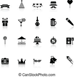 Party time icons with reflect on white background
