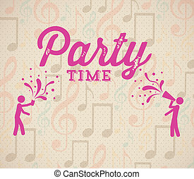 party time over music pattern background vector illustration...