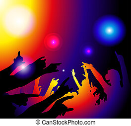 Party Time - silhouette of a group of people at a music or ...