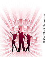 Party time - Silhouettes of people dancing on a funky music ...