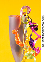 Party Time - Champagne Flute With Party Decorations and...