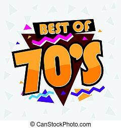 Party time The 70 s style label. Vector illustration. -...