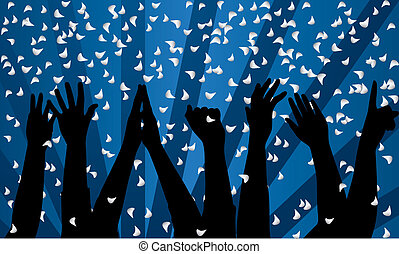 party - Vector festive background with silhouette of hands