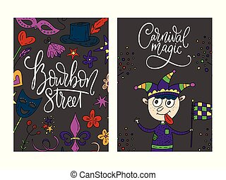 Mardi gras party vector illustrations. Carnival cards with doodle illustration and lettering quote. Bourbon street. Jester boy poster.