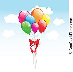 party, vektor, luftballone, hintergrund