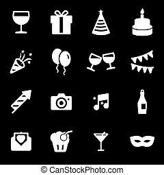 party, weißes, vektor, satz, heiligenbilder