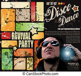 party, wiederbelebung, flieger, disko, retro'