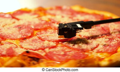 Party with delicious junk food. Italian pizza with salami...
