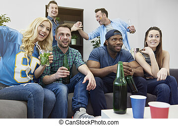 Party with friends during championships