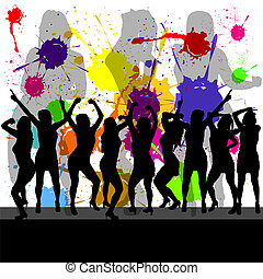 party with girl silhouette and color background