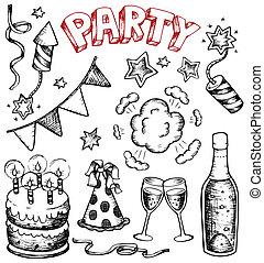 party, zeichnungen, sammlung, 1