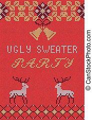party3, suéter, feio