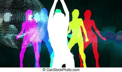 party/celebration, doskonały, zacisk, tło., klub, na, tchórzliwy, abstrakcyjny, visuals, przędzenie, tancerz, sexy, cień, discoball, albo
