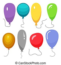PartyDecorations-45 - Set of eight colorful balloons with a...