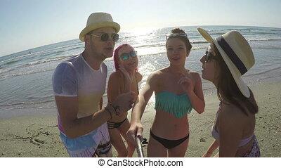 partying, barátok, selfie, csoport, tengerpart, birtoklás
