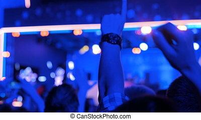 partying, concert, gens, musique, nuit, devant, électronique, étape