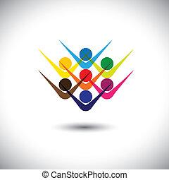 partying, fogalom, ábrázol, elvont, &, emberek, is, izgatott, konzerv, színes, játék, ábra, grafikus, children., emelkedett, gyerekek, bot, ez, dolgozók, s a többi, vektor, barátok, boldog, vagy