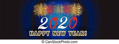 partying, fogos artifício, feliz, celebração, 2020, ano novo, fundo