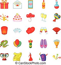 Partying icons set, cartoon style