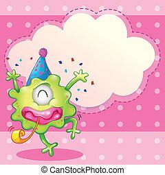 partying, monstro, verde, nuvem, modelo, vazio