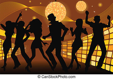Partying people - A vector silhouette illustration of young...