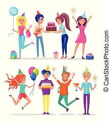 partying, persone, festeggiare, festa compleanno, amico