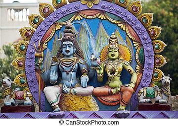 Parvati and Shiva - Divine couple, Parvati and Shiva. Detail...