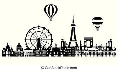 paryż, 3, sylwetka na tle nieba, wektor, miasto