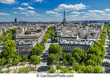 paryż, cityscape, prospekt, antena, francja