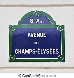 paryż, des, znak, ulica, aleja, chrupie-elysees
