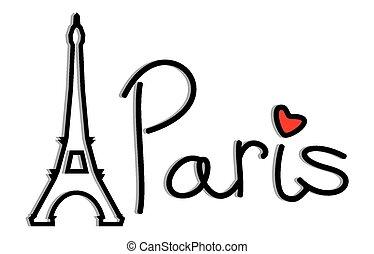 paryż, eiffel, -, retro, wieża, karta