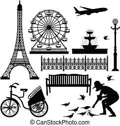 paryż, ferris, wieża, eiffel, koło