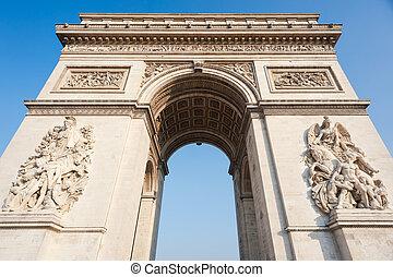 paryż, -, francja, -, triumfalny obłąk