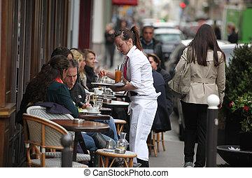 paryż, -, kwiecień, 27, :, paryżanie, i, turysta, cieszyć się, jeść, i, pije, w, kawiarnia, chodnik, w, paryż, francja, na, kwiecień, 27, 2013., paryż, jest, jeden, od, przedimek określony przed rzeczownikami, najbardziej, zaludniony, stołeczne powierzchnie, w, europe.